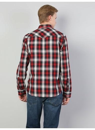 Colin's Slim Fit Shirt Neck Erkek Kırmızı Uzun Kol Gömlek Kırmızı